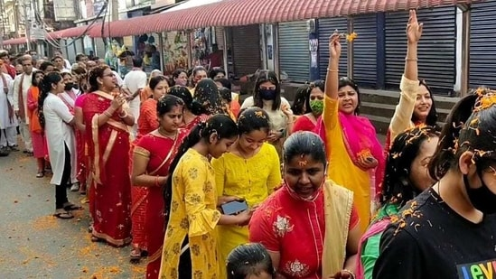 Devotees of Lord Krishna taking out a procession in Assam Dibrugarh on the occasion of Holi. (ANI Photo )