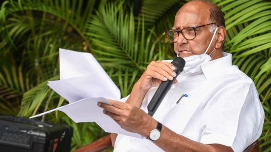 NCP chief Sharad Pawar addresses the media in New Delhi, Monday, March 22, 2021. (PTI)