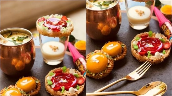 Recipe: Strawberry ghevar with coconut rabri, mango passion Chandrakala on Holi(Chef Nayindra B. Chetry, Executive Pastry Chef at Sheraton Grand Bengaluru Whitfield Hotel & Convention Center)