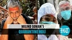 Milind Soman toasts Holi in quarantine, wife Ankita visits in PPE suit