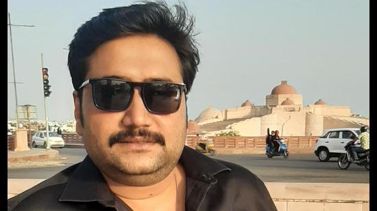Actor Vishwanath Chatterjee in Lucknow for the shoot of 'Jogira Sara Ra Ra' (Deep Saxena/HT Photo)
