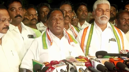 If the BJP is given a chance by the people, the separate identity of Puducherry will be lost, said V Narayanasamy. (ANI Photo)
