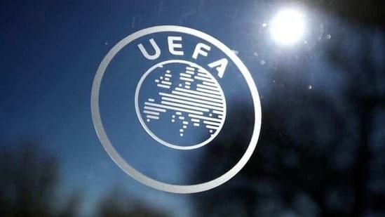 General view of the UEFA logo at UEFA Headquarters(REUTERS)