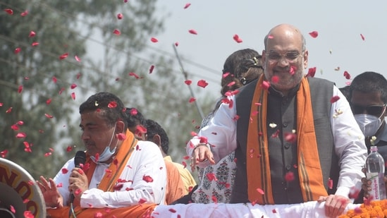 Union Home minister Amit Shah during a road show at Nandigram in East Midnapore, West Bengal, India, on Tuesday, March 30, 2021. (Photo by Samir Jana/Hindustan Times)