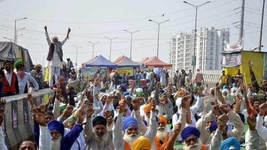 Demonstrators at the Ghazipur farmers' protest site in New Delhi, on Wednesday, February 17.(Sakib Ali/HT Photo )