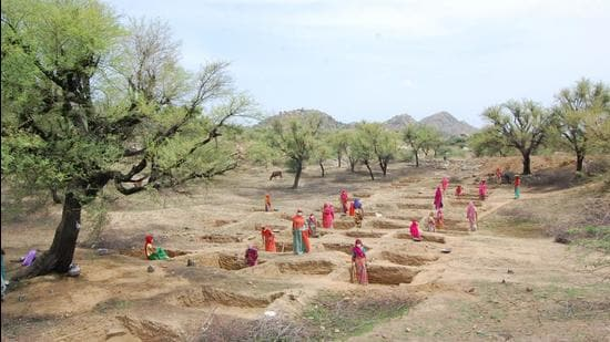 Water harvesting works in Rajsamand. (Photo credit: Foundation for Ecological Security)