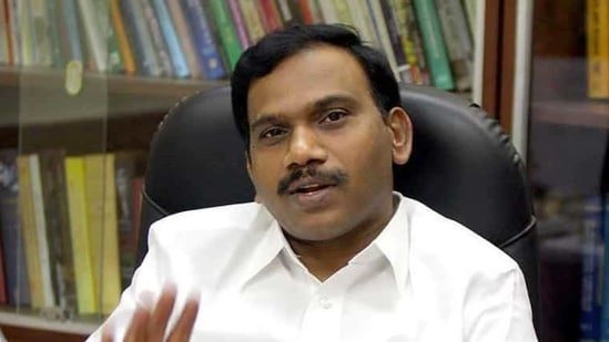 File photo: DMK leader A Raja during an interview with Hindustan Times.
