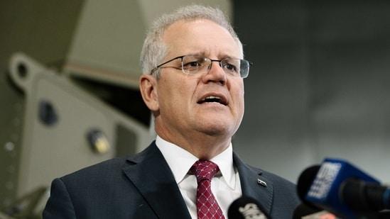 Australian Prime Minister Scott Morrison speaks during the opening of Raytheon Australia's Centre for Joint Integration in Adelaide, Wednesday, March 31, 2021. (AP)