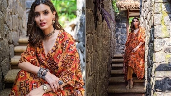 Diana Penty's rust kaftan with bold ikat print is a summer wardrobe essential(Instagram/dianapenty)