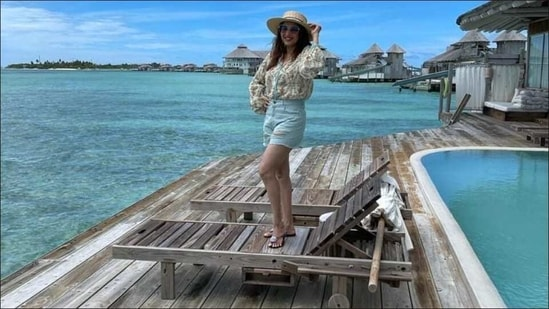 Madhuri Dixit sets fans craving for exotic Maldives vacay with latest travel picture(Instagram/madhuridixitnene)