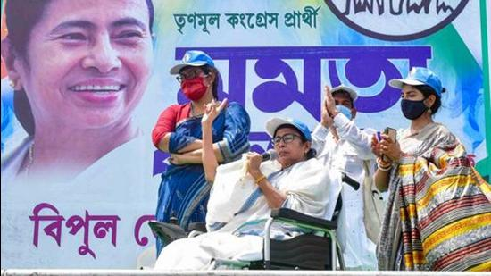 West Bengal chief Mminister Mamata Banerjee addresses a rally on the last day of the campaign for the 2nd phase of assembly elections, in Nandigram on Tuesday, March 30. (PTI)