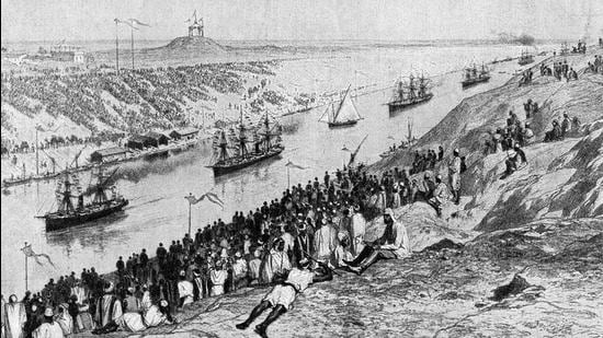The opening of the Suez Canal as pictured in 1869. (HT PHOTO)
