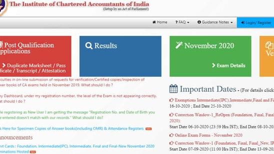 ICAI CA November admit card 2020.(Screengrab)