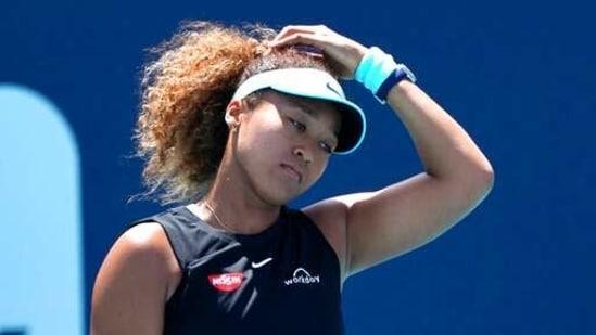 Naomi Osaka, of Japan, reacts during her match against Maria Sakkari, of Greece, in the quarterfinals of the Miami Open tennis tournament Wednesday, March 31, 2021, in Miami Gardens, Fla. Sakkari won 6-0, 6-4. (AP)