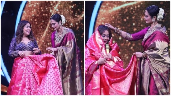 Rekha arrived on the sets of Indian Idol recently for a special episode.