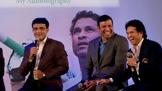 Cricket legend Sachin Tendulkar with his former teammates Sourav Ganguly, and VVS Laxman(Hindustan Times via Getty Images)