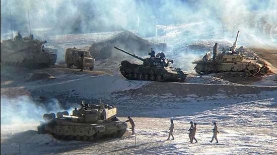 People Liberation Army (PLA) soldiers and tanks during military disengagement along the Line of Actual Control (LAC) at the India-China border in Ladakh. (INDIAN MINISTRY OF DEFENCE / AFP)