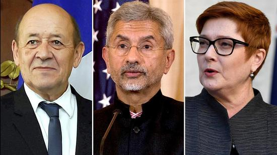 French foreign minister Jean Yves Le Drian, India external affairs minister S Jaishankar and Australia's Marise Payne will hold their trilateral dialogue on the Indo-Pacific on April 13 (Agencies)
