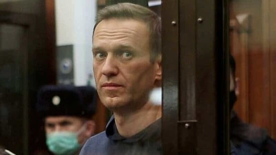 A still image taken from video footage shows Russian opposition leader Alexei Navalny inside a defendant dock during the announcement of a court verdict in Moscow, Russia.(Reuters/ File )