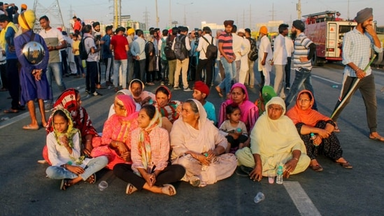 Protesting farmers block Delhi-Meerut expressway after the convoy of BKU leader Rakesh Tikait was attacked in Rajasthan's Alwar, at Gazipur border in New Delhi on Friday. (ANI Photo)