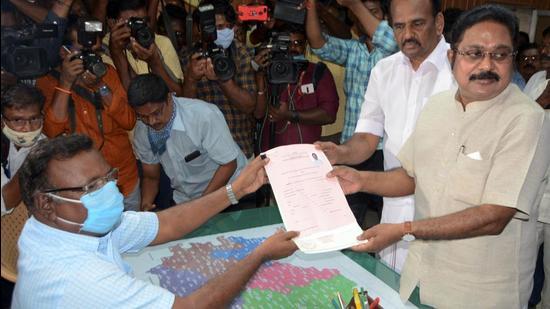 Amma Makkal Munnetra Kazhagam (AMMK) general secretary TTV Dhinakaran files his nomination from Kovilpatti assembly constituency for upcoming elections. (PTI)