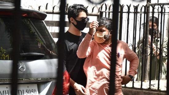 Aryan Khan seen outside a clinic in Juhu.