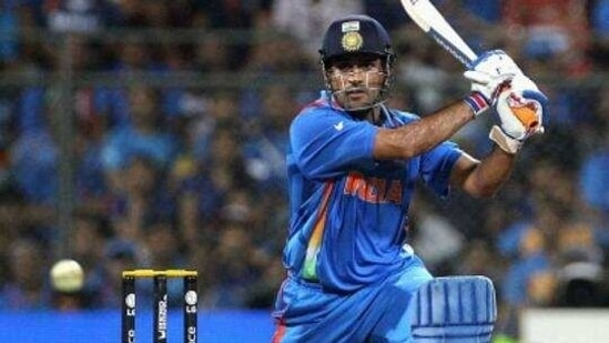 MS Dhoni of India drives during the 2011 ICC World Cup Final between India and Sri Lanka at Wankhede Stadium on April 2, 2011 in Mumbai, India.