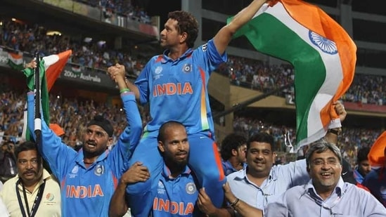 On April 2, 2011 India won the 2011 ODI World Cup by beating Sri Lanka in the final.(Getty Images)