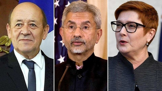 French foreign minister Jean Yves Le Drian, India external affairs minister S Jaishankar and Australia's Marise Payne will hold their trilateral dialogue on the Indo-Pacific on April 13 (Agencies)(HT_PRINT)