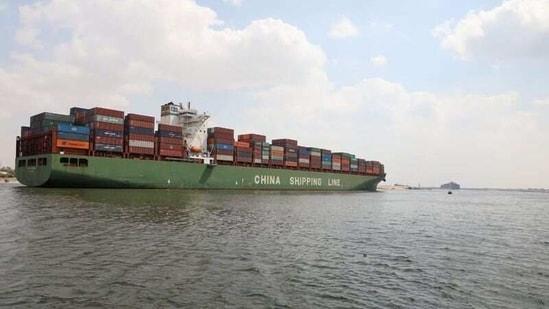 A container ship sails at the Suez Canal, in Ismailia, Egypt March 31, 2021. (Suez Canal Authority/Handout via REUTERS)