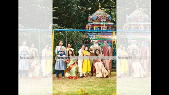 (From left to right) Dr Narayana, his son, Agni and wife, Dr Shabala Paul, Kavita Krishnamurti (seated), L Subramaniam, Mahiti (in front of him), Sandeep Nayak, Bindu (seated) and Ambi; Hair and make-up: Jean-Claude Biguine; Outfits for the entire family: House of Angadi (Prabhat Shetty)