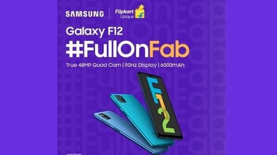 The all-new Samsung Galaxy F12 ticks all the boxes with its #FullOnFab features – it is super smooth and promises stunning photographs.(Samsung)