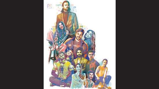 Ten non-celebrity Instagrammers — Bhuvan Bam, Ashish Chanchlani, Prajakta Koli, Abhiraj Rajadhyaksha and Niyati Mavinkurve, Niharika NM, Sanjyot Keer, Ranveer Allahbadia, Dolly Singh, Shaaz Jung and Meghna Kamdar — talk about the ups, downs and non-stop hamster wheel. (HT Illustration: Malay Karmakar)