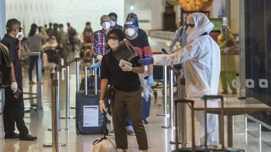 As part of its SOP for the resumption of domestic flights in May last year, CSMIA had placed guidelines on safety practices across the airport in the form of physical and digital boards.(HT Photo)