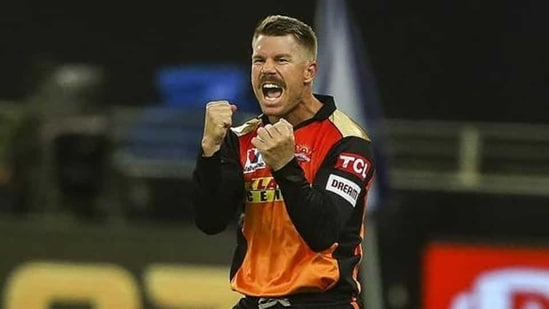 David Warner of Sunrisers Hyderabad (SRH) celebrates the wicket of Shikhar Dhawan of Delhi Capitals (DC) match between the Sunrisers Hyderabad and the Delhi Capitals, at the Dubai International Cricket Stadium in Dubai.(PTI)