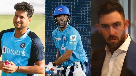 L to R: Kuldeep Yadav, Shikhar Dhawan and Glenn Maxwell. (Getty/IPL)