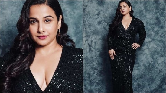 Vidya Balan rocks a sultry glam look in sequin teal gown and we are in awe(Instagram/balanvidya)