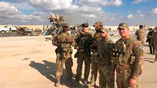In this Jan. 13, 2020 file photo, U.S. Soldiers stand at a site of Iranian bombing at Ain al-Asad air base in Anbar, Iraq. (AP)