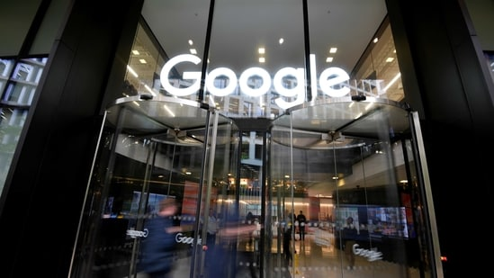 The Google name is displayed outside the company's office in London, Britain.(Reuters)