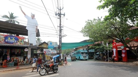 A large cutout of Pinarayi Vijayan in Pinarayi Village ahead of the Kerala Assembly election, in Kannur District, Kerala.