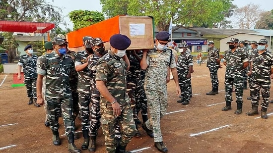 The body of a CRPF jawan, who lost his life in an encounter with Naxals in Sukma, was brought to Jagdalpur on Sunday.(ANI Photo)