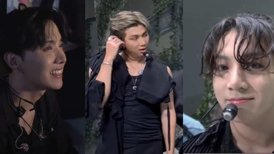 BTS members J-Hope, RM and Jungkook from the making of the group's BTS Week performances.