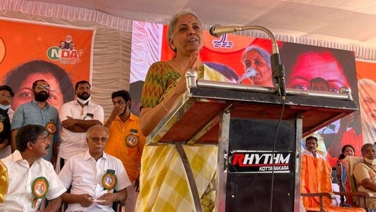 Finance minister Nirmala Sitharaman, who is on a two-day visit to the poll bound Kerala, has been actively campaigning to seek support for the Bharatiya Janata Party (BJP) candidates in the upcoming state assembly elections.(Twitter/@nsitharaman)