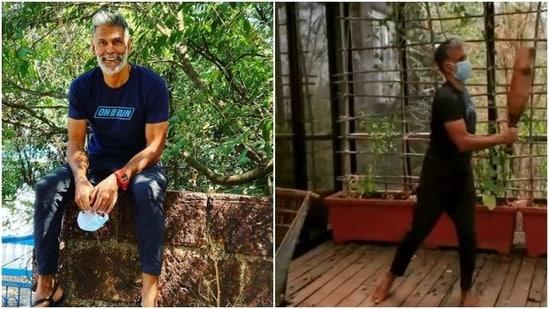 Milind Soman tries light exercises during quarantine(Instagram/ milindrunning )
