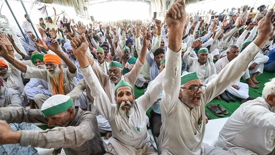 SKM held protests across mandis in the country on March 19 over FCI's new procurement norms (PTI Photo/Arun Sharma) (PTI)