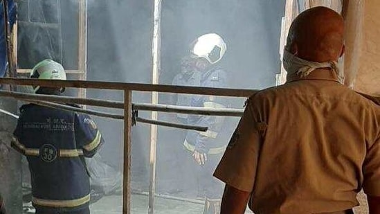 The fire was reported from the electrical wiring and curtain, Mumbai fire brigade control room officials said.(HT Photo)