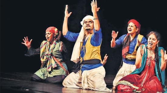 "A still form the play ""Piya Behrupiya."" (HT PHOTO)"