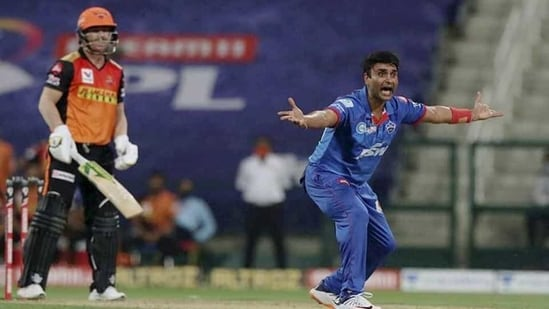 Delhi Capitals player Amit Mishra appeals successfully for the wicket Sunrisers Hyderabad batsman David Warner during the Indian Premier League 2020 cricket match.(PTI)