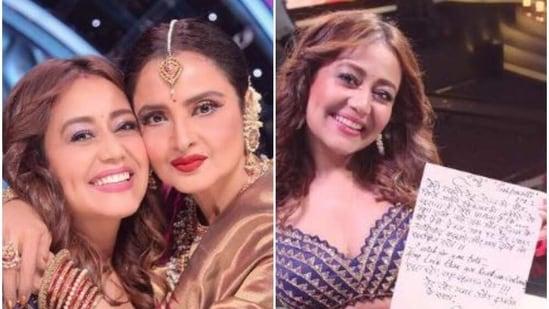 Neha Kakkar poses with Rekha on the Indian Idol 12 sets.