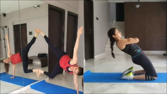 Bhagyashree nails jaw-dropping warrior pose on mirror, flexible core workout(Instagram/bhagyashree.online)